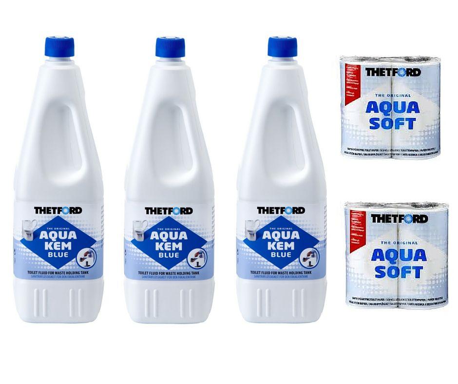 aqua kem blue toilet chemical package 3 x 2ltr bottles 2 x. Black Bedroom Furniture Sets. Home Design Ideas