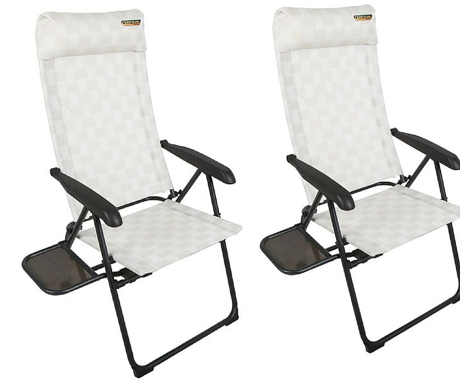 Quest Riviera Sl Camping Chair With Side Table Twin Pack